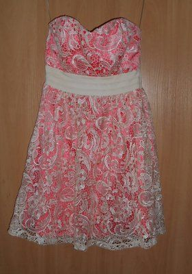 платье гипюр персиковое маленький размер или подростковое пог-80.пот-6