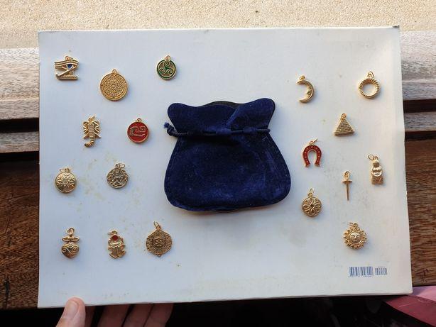 Conjunto de pendentes vintage com bolsa - coleção colecção