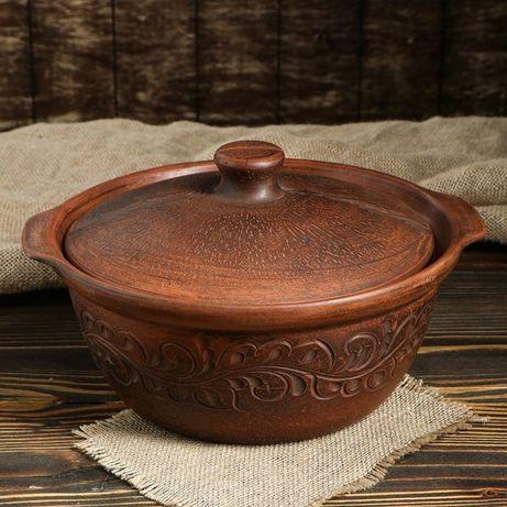 Жаровня конус 3,3 л резная из красной глины, гончарная посуда