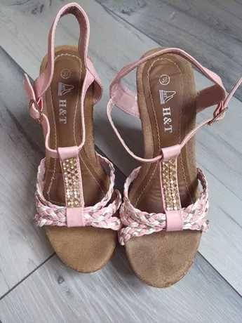 Sandały damskie różowe rozmiar 37 na koturnie