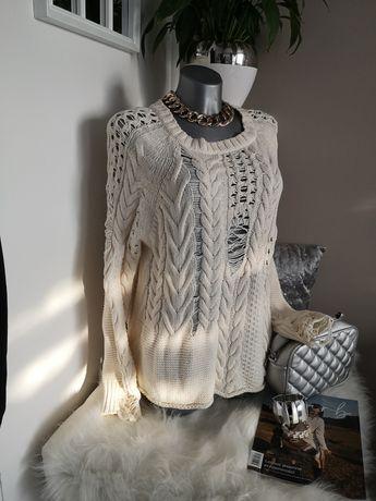sweter Beżowy ecru S M Reserved 40 boho nowy