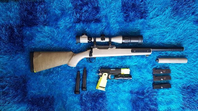 Sniper Rifle BAR 10 + pistola TOKIO MARUY 1911