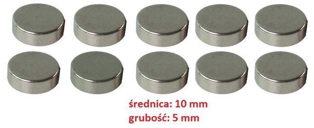Magnes neodymowy 10x5 - zestaw 10szt magnesy neodymowe, gwarancja