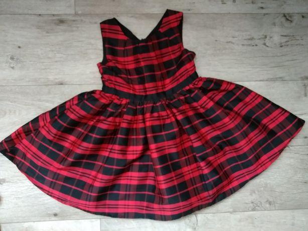 Новогоднее, нарядное, красное платье в клетку, 4-6 лет