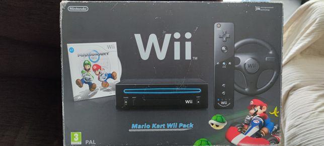 Wii Preta com jogos e comandos