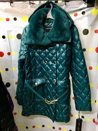 Куртка зима, полупальто 100% пух, люкс качества,натуральный мех 48-52