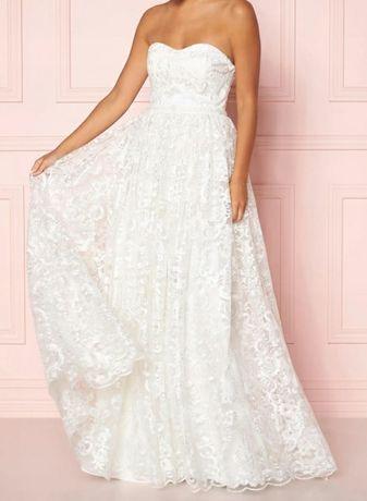 Okazja! Ślub, wesele suknia koronkowa haft, rozm.36