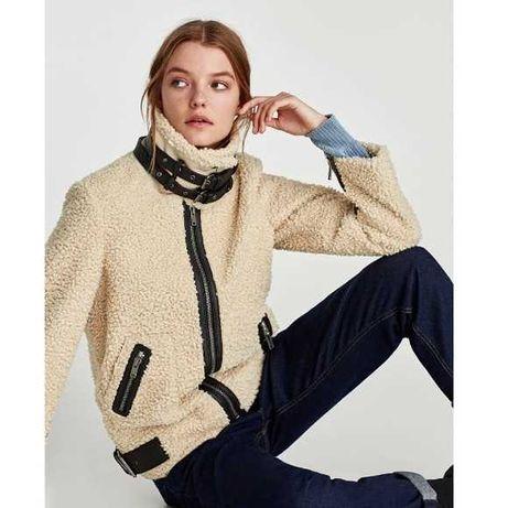 Casaco teddy/ pelo da Zara beige