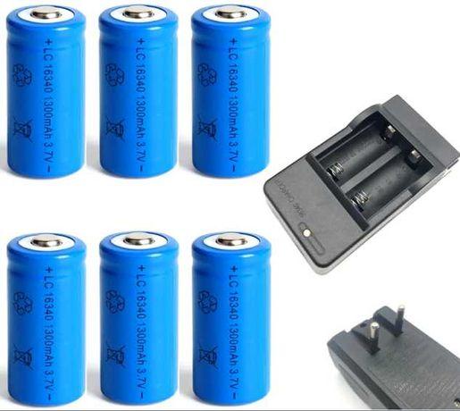 6x Pilhas / Baterias  CR123A Recarregáveis + Carregador