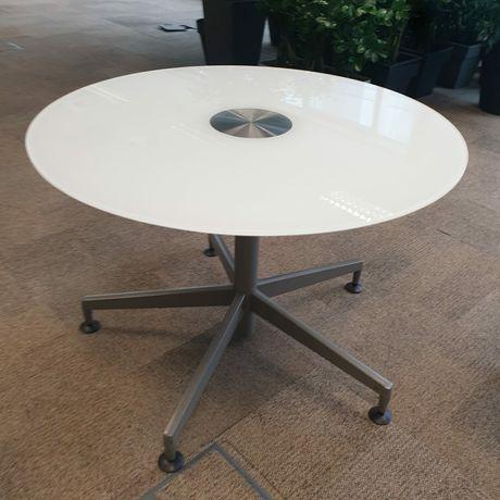 Stół okrągły biały szklany