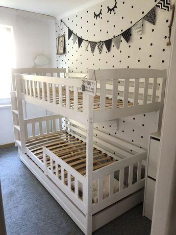 białe PILNE drewniane łóżko piętrowe 2 lub 3 osobowe