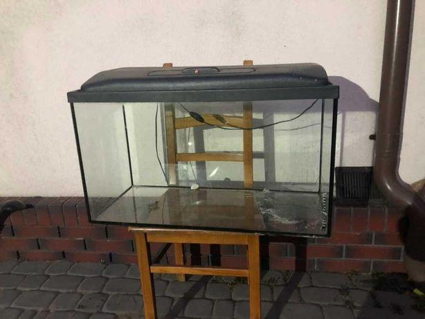 Akwarium prostokątne z pokrywą i oświetleniem