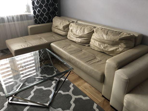 Komplet skórzany narożnik , fotel , 4 krzesła , pufa