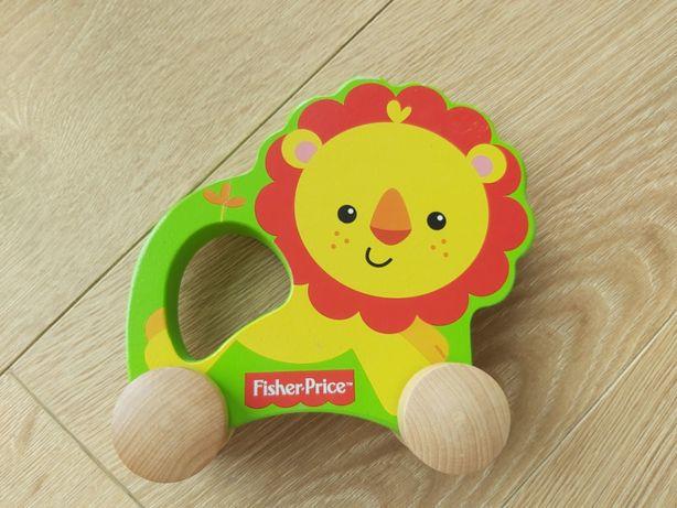 Drewniany lew na kółkach Fisher Price