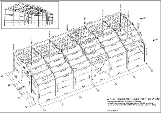 Hala magazynowa 240 m2 - szkielet, konstrukcja