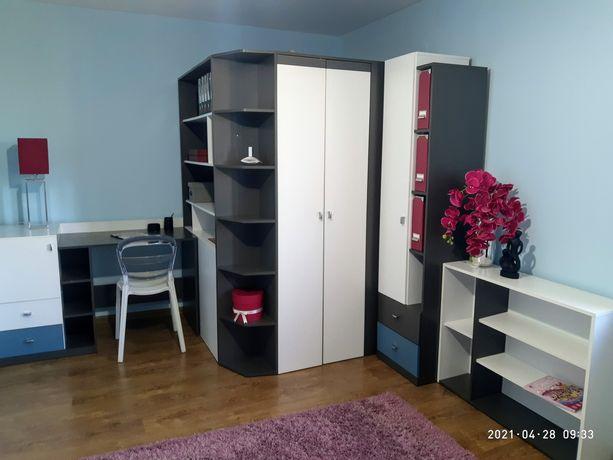 meble młodzieżowe zadbane tanio, szafa garderoba komoda biurko rtv