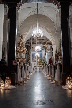 JEDEN DZIEŃ dekoracja kościoła ślub wesele tiul woal lampion