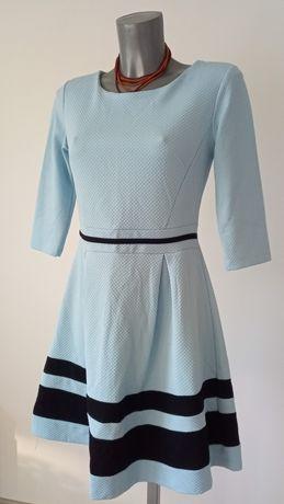 Błękitno-czarna sukienka, długi rekaw. Wizytowa, elegancka. Rozmiar S.