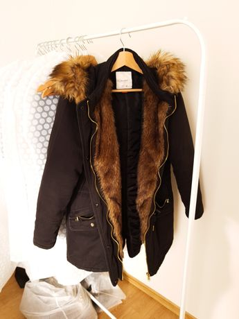 Parka 40 L kurtka damska zimowa 38 M płaszcz z futerkiem ciepła