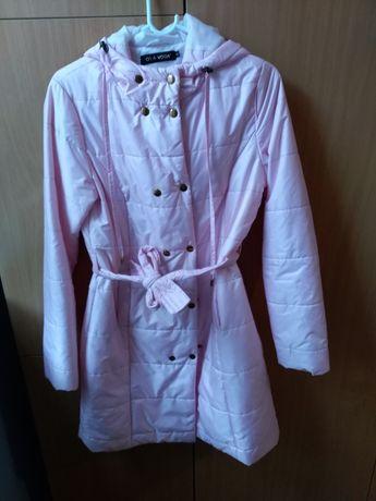 Płaszcz damski pudrowy