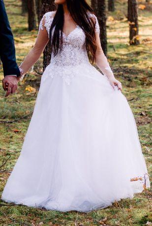 Suknia ślubna biała 36, tiul, siateczka, koronka