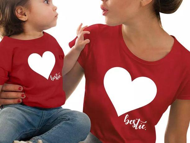 Zestaw koszulek mama i córka mama i syn dziecko serduszka bestie