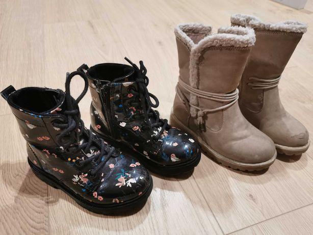 Buciki dziewczęce - botki H&M, kozaczki Lupilu rozm. 25