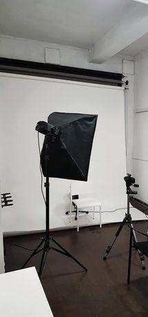 Zestaw Dla Fotografa Profesjonalne Studio Fotograficzne Dwie Lampy Tła