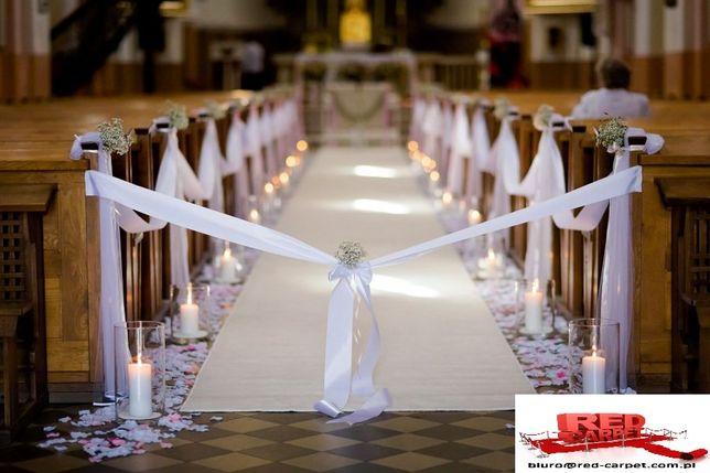 Wykładzina dywan chodnik do ślubu, biała, czerwona kościół