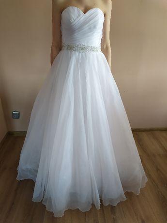 Suknia ślubna biała model księżniczka XS stan idealny