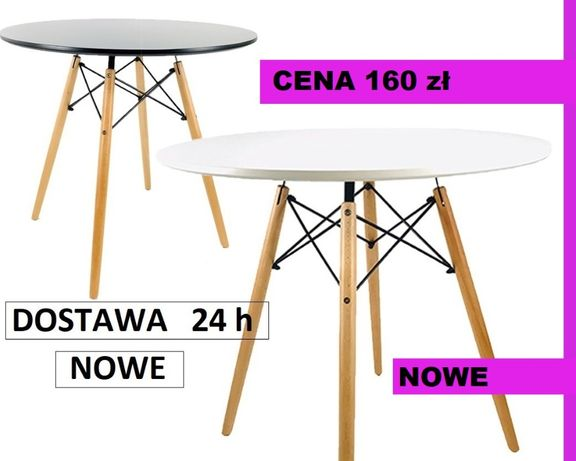 Stół stolik nowoczesny biały czarny okrągły DSW MILANO