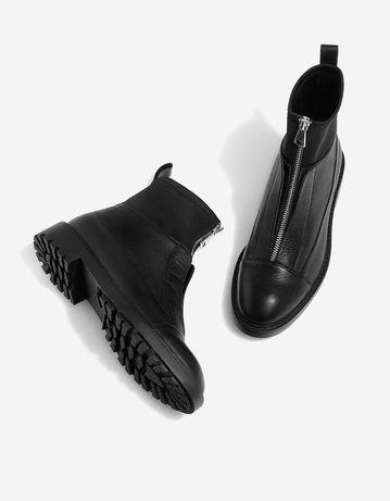 Женские осенние ботинки сапоги Stradivarius натуральная кожа 38 размер