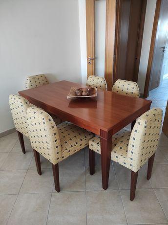 Mesa jantar cerejeira extensível + 6 cadeiras