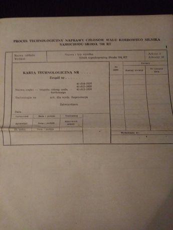 Karta Technologiczna naprawy walu korbowego silnika Skoda 706 RT