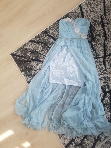 Sukienka koktajlowa balowa wesele błękit zamek bez ramiączek 34