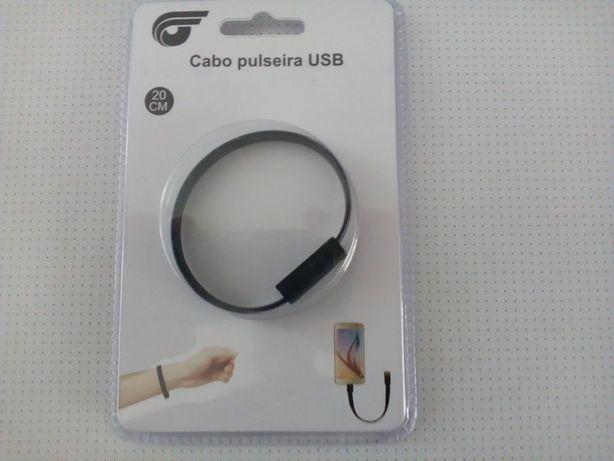 Pulseira Cabo USB preto de 20 cm para Android - NOVO - PORTES GRÁTIS