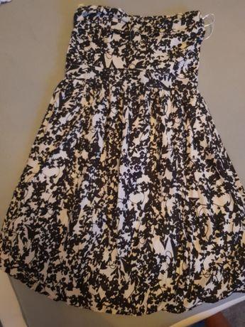 Sukienka bez ramiaczek lato czarno biała 36 s nowa