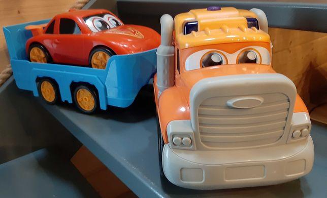 Dickie Happy-Duża ciężarówka z przyczepą i autem wyścigowym - używana