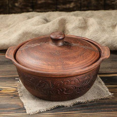 Жаровня конус красная керамика 2,2 л резная, гончарная посуда для печи