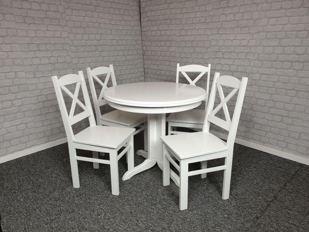 Komplet stół okrągły 90 biały i 4 krzesła prowansalski drewnian krzyż