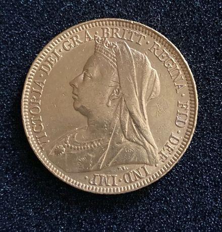 Złota moneta Suweren 1898r. Wielka Brytania