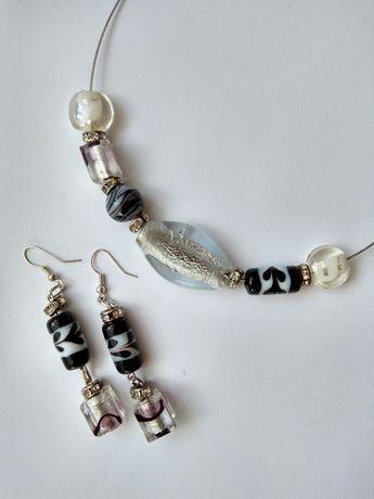 Комплект, набор украшения серьги и колье от Murano. Италия