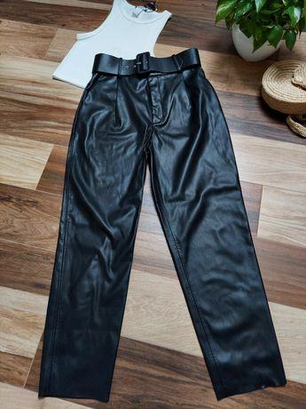 Nowe Zara spodnie skórzane z paskiem ekoskóra r.M spodnie paperbag