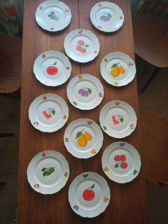 Talerze owoce porcelana Ćmielów 12 szt