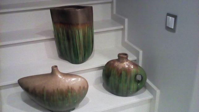 Conjunto de 3 peças decorativas, em loiça vidrada, muito elegantes!