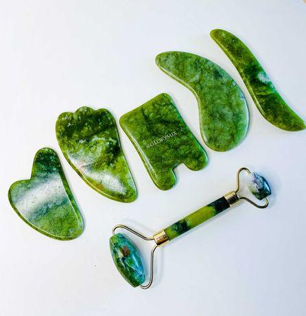 Скребок ГуаШа нефрит зеленый галочка лапка разные формы роллер