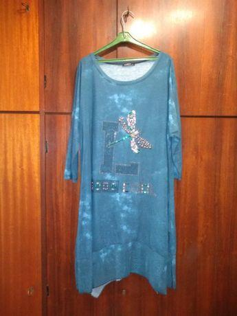 Sukienka Damska Niebieska Wzór Rozmiar 50