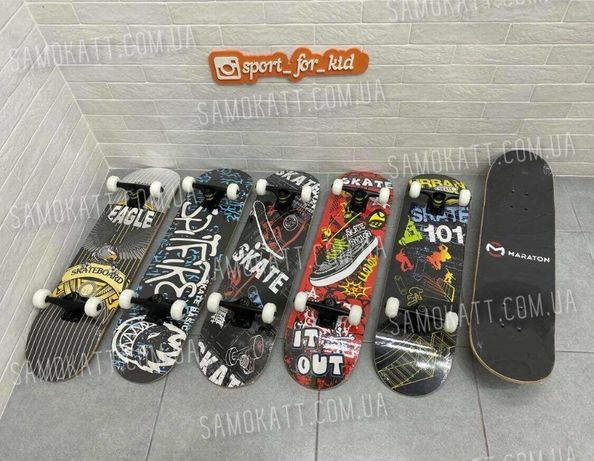 Скейтборд деревянный скейт с рисунком на доске