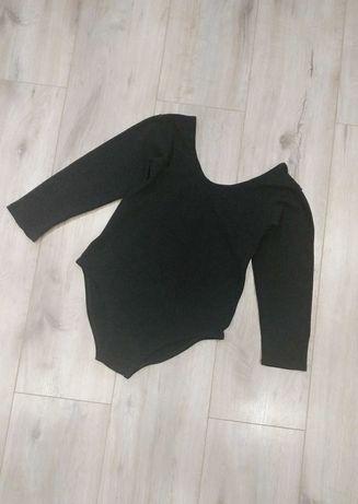 Купальник спортивный сдельный черный гимнастики танцев 152-158 рукав