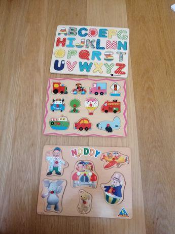 Conjunto de três puzzles de madeira para crianças